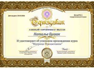 Сертификат Матрица Процветания